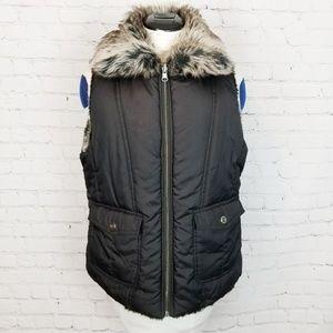 Jackets & Coats - Fur Collar Black Quilted Vest